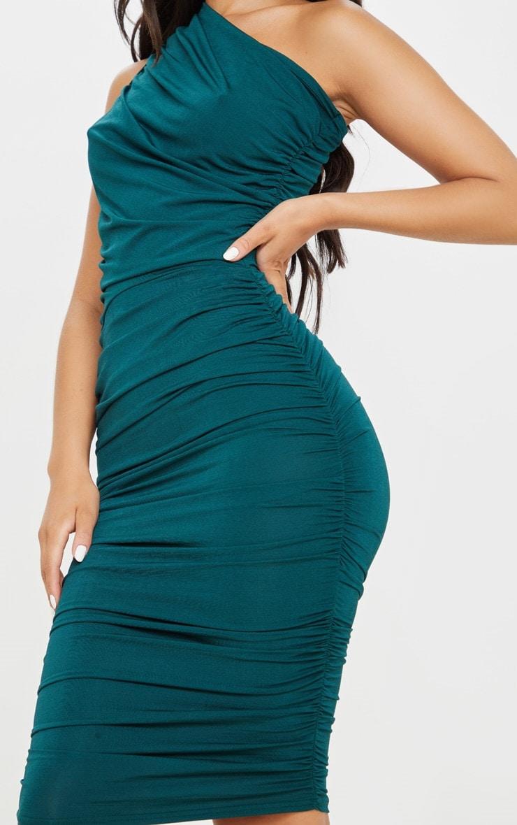Petite Emerald Green Slinky Ruched One Shoulder Longline Midi Dress 4