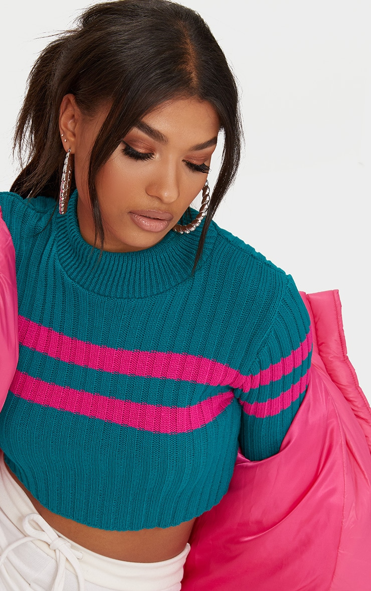 Emerald Green Stripe Detail Cropped Knitted Jumper 5