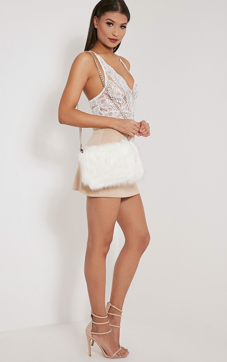 Christah White Faux Fur Chain Shoulder Bag 6