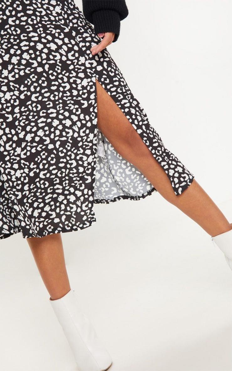 Black Leopard Print Floaty Midi Skirt 3