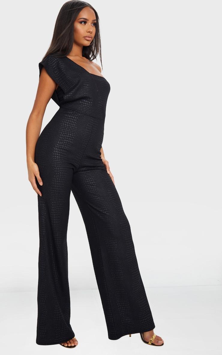 Black Textured Croc Drape One Shoulder Jumpsuit 3