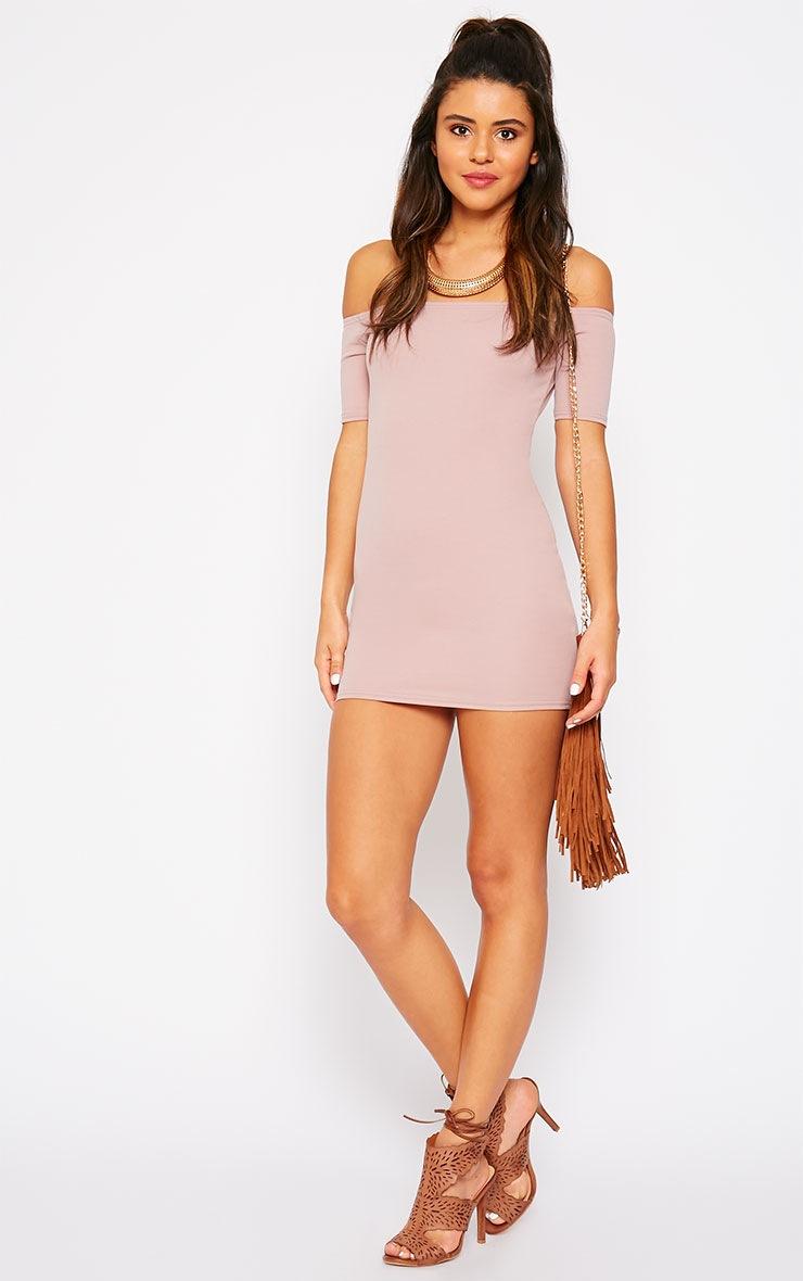 Tobiah Mauve Bardot Bodycon Dress 3