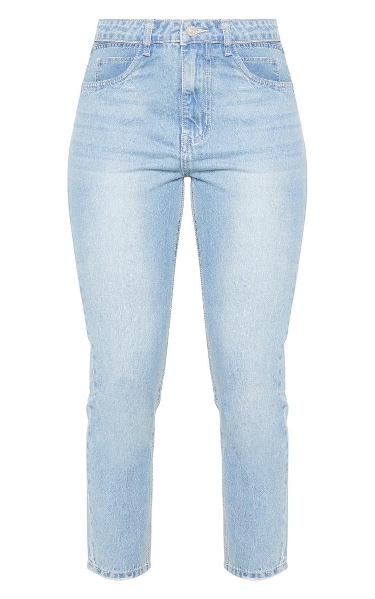 Light Wash Cut Out Waist Straight Leg Jeans 3