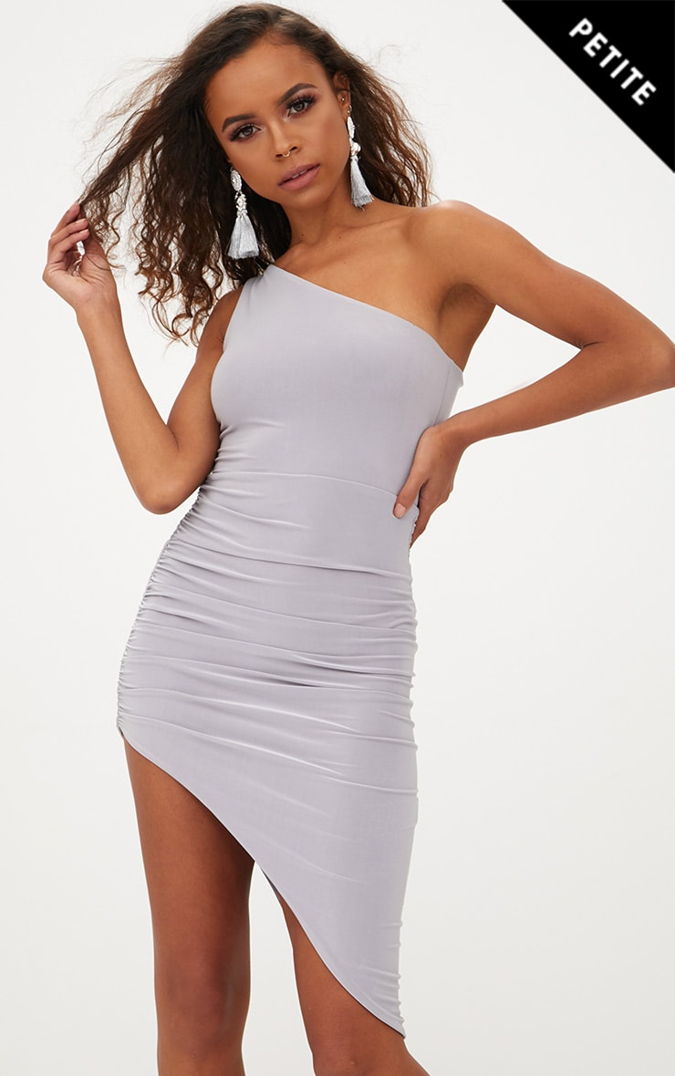 Petite Ice Grey Slinky One Shoulder Asymmetric Ruched Dress 1