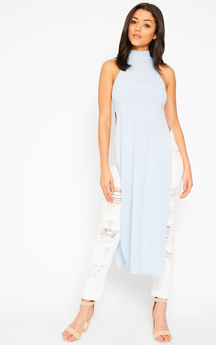 Aaralyn Powder Blue Ribbed Side Split Dress 4
