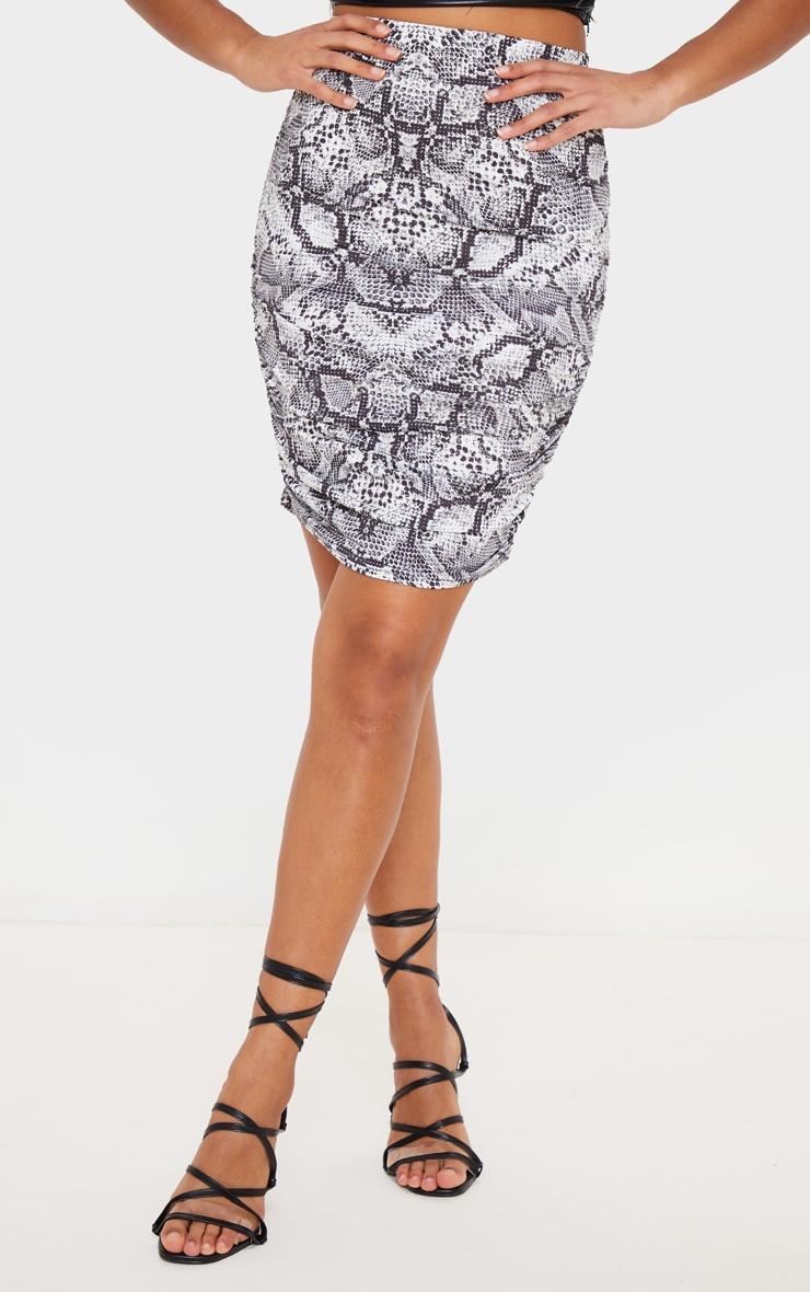 Grey Snake Print Slinky Ruched Mini Skirt 2