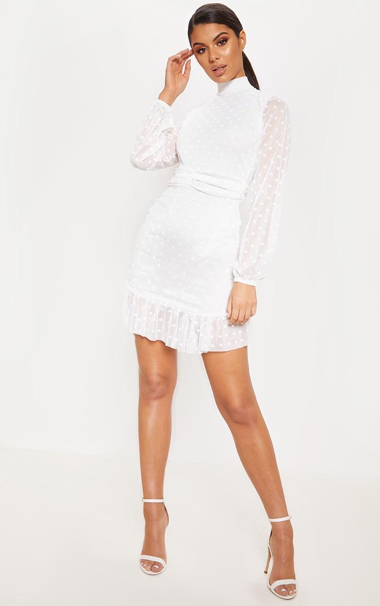 White Mesh Long Sleeve Ruffle Hem Bodycon Dress 4