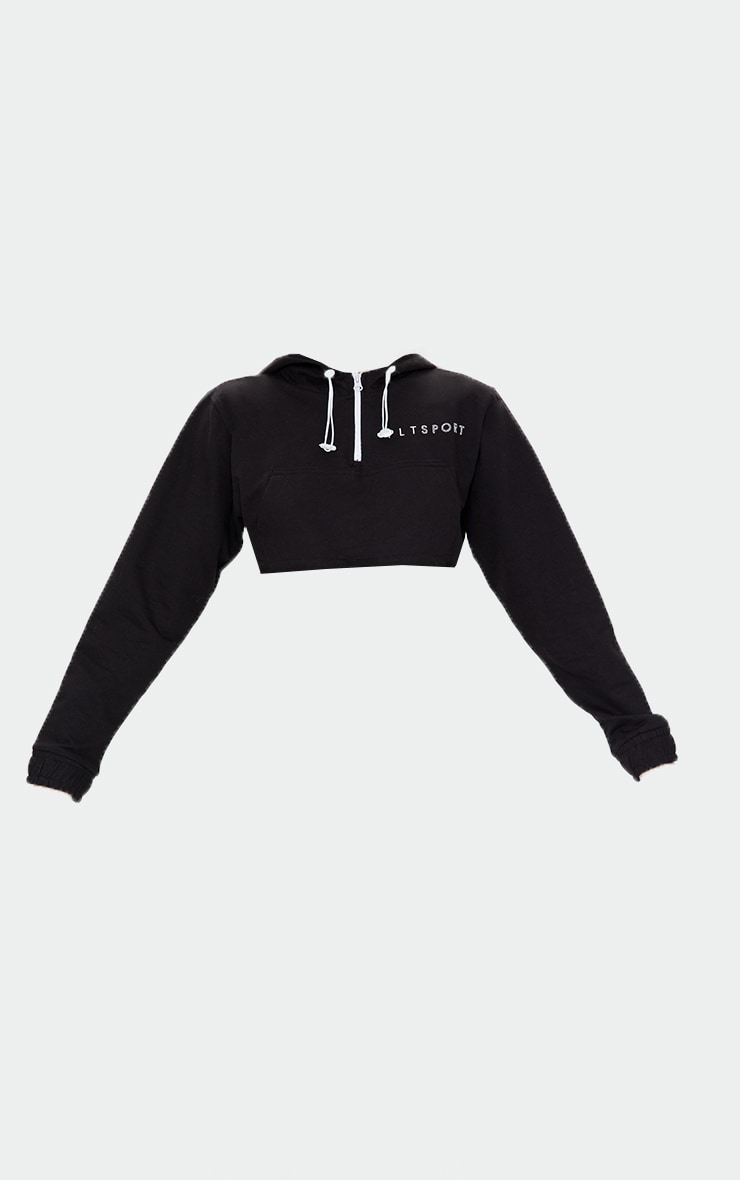 Black Raw Hem Super Cropped Sports Hoodie 5