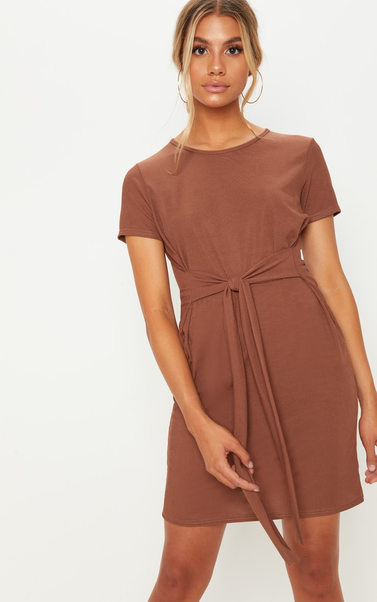 Chocolate Ribbed Tie Waist Oversized T Shirt Dress
