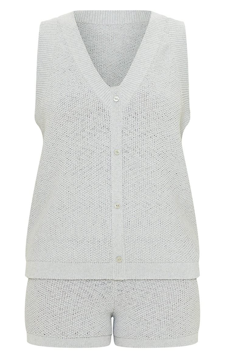 Recycled Light Grey Knitted Button Up Vest Set 5