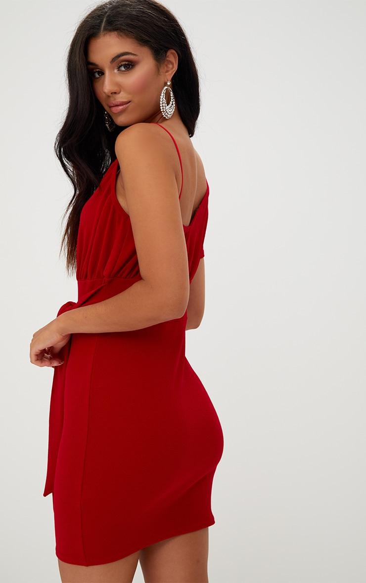 Red Asymmetric Wrap Bodycon Dress 2