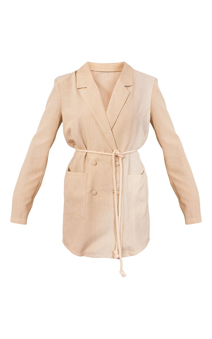 Nude Linen Look Rope Tie Waist Blazer Dress 5