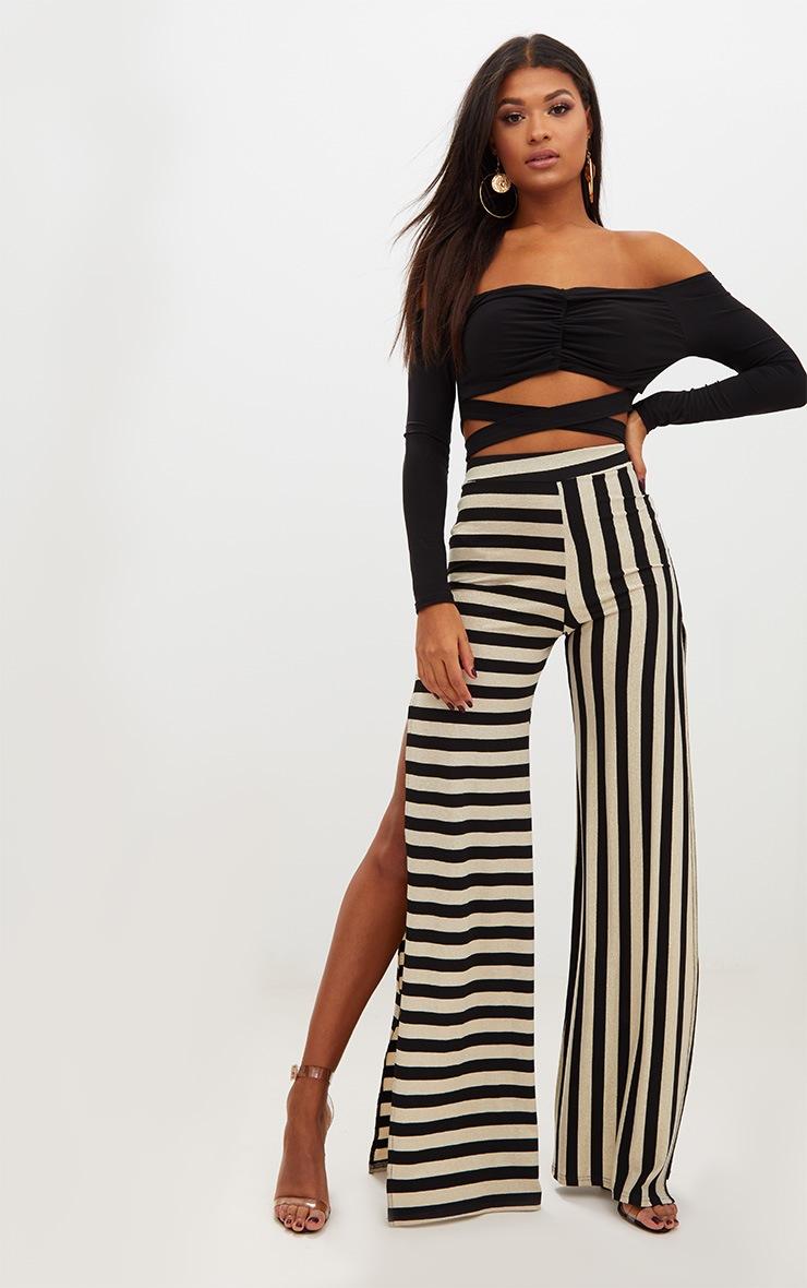 Black Slinky Ruched Front Tie Bardot Crop Top 4