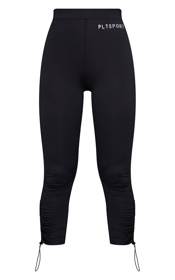 Black Toggle Ruched Cropped Gym Leggings 5