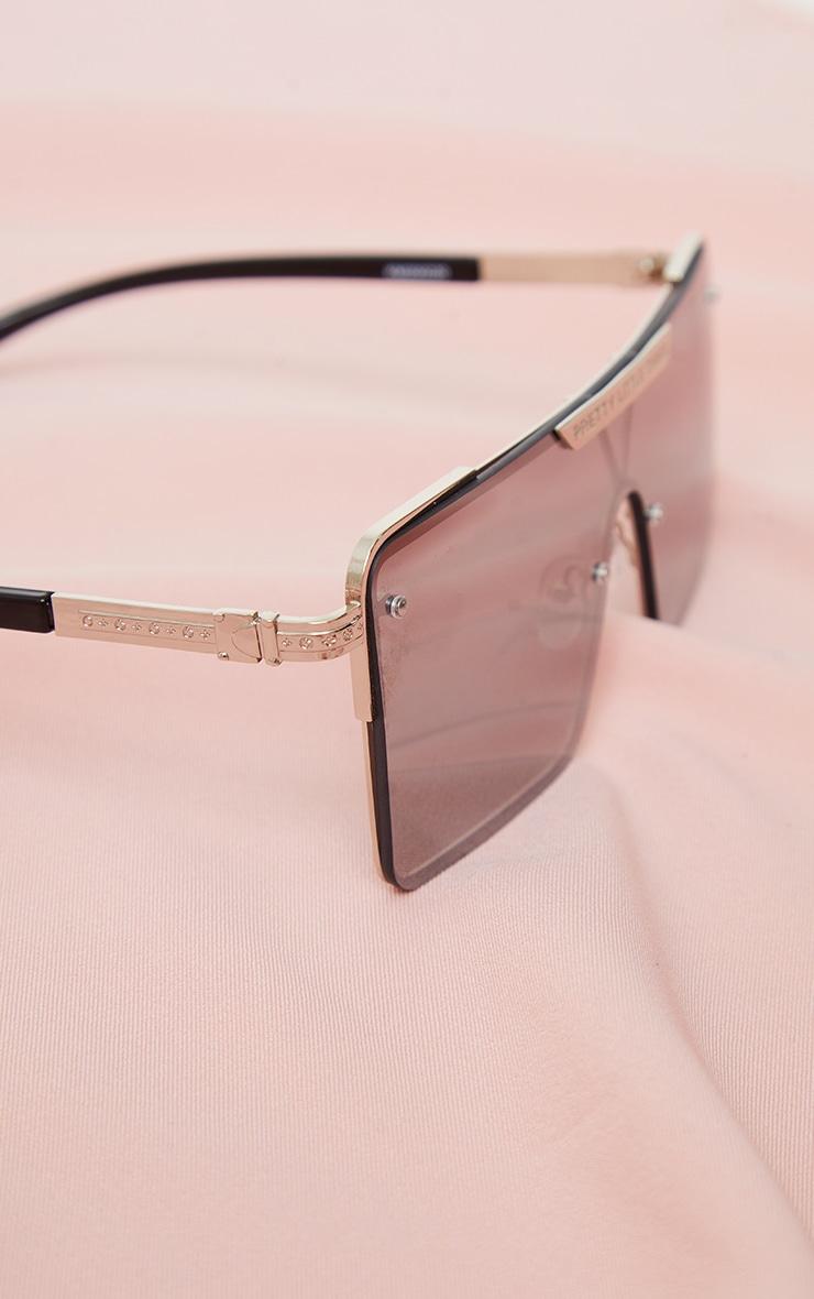 PRETTYLITTLETHING Silver Revo Square Visor Sunglasses 3