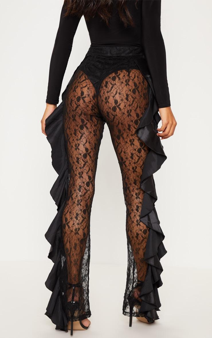 Black Lace Ruffle Detail Flare Leg Trouser 4
