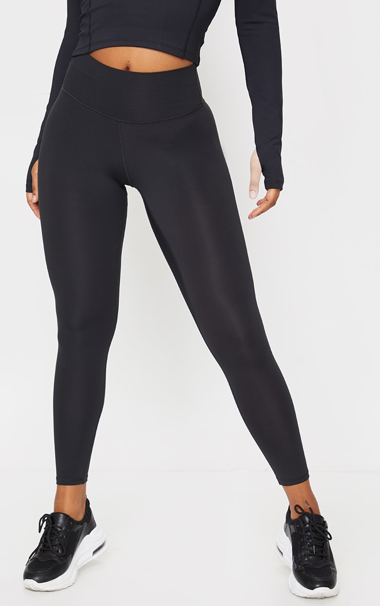 Black Brushed Luxe High Waist Cropped Gym Leggings 2