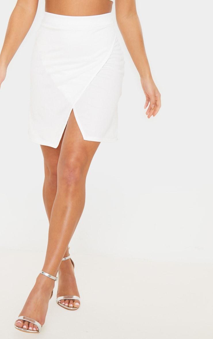 Petite Cream Crepe Oriental Wrap Skirt 2