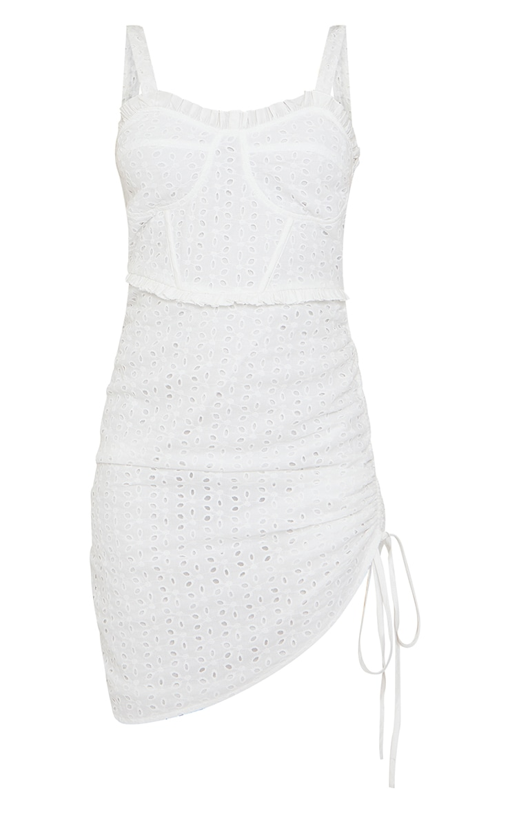 White Broderie Anglaise Binding Detail Ruched Bodycon Dress 5