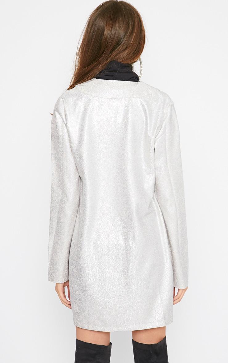 Gabby Silver Iridescent Longline Blazer 2
