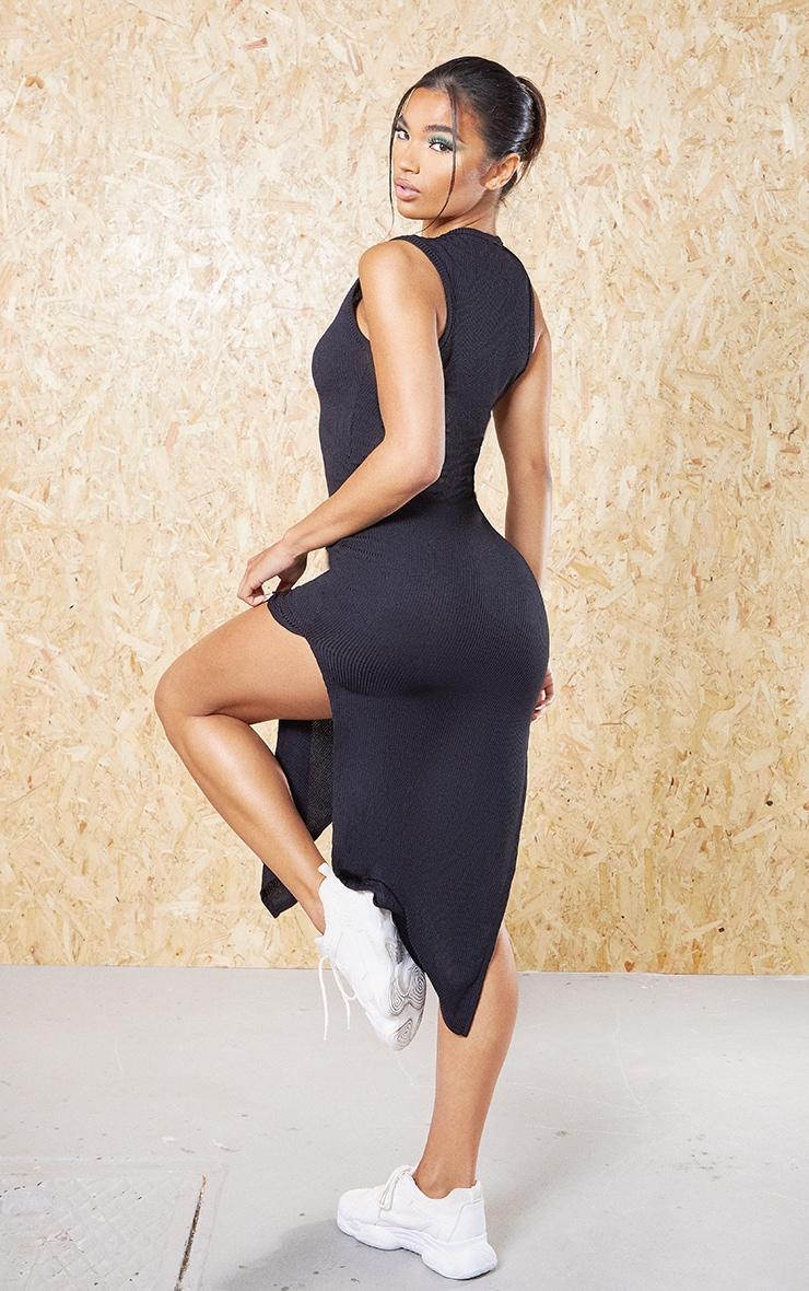Black Recycled Wide Rib Split High Neck Midi Dress 2