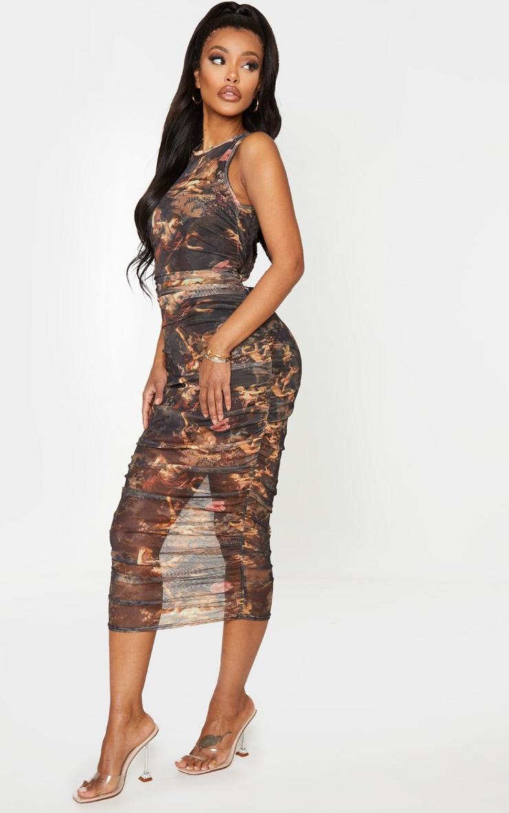 Shape Brown Renaissance Print Sleeveless Midi Dress 3