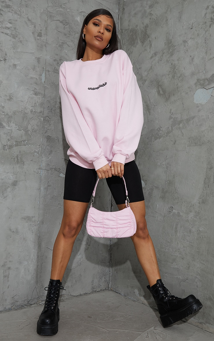 Baby Pink Unavailable Embroidered Slogan Sweatshirt 3