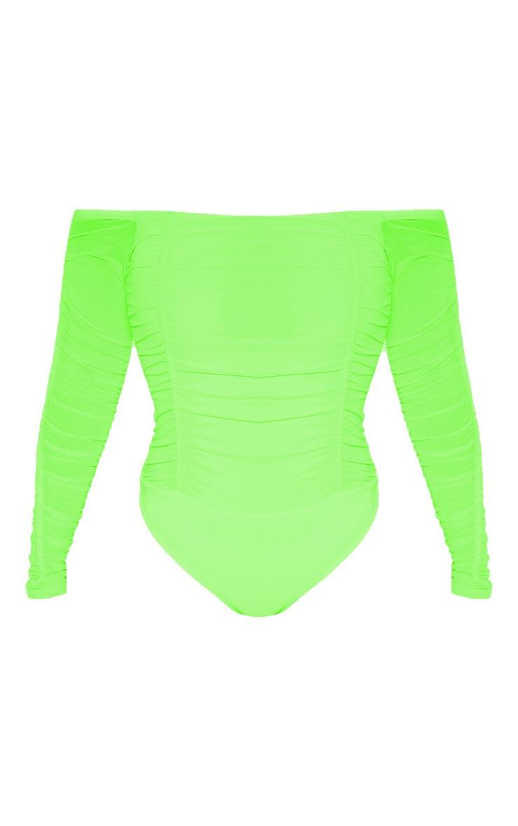 Lime Ruched Mesh Bardot Bodysuit 3