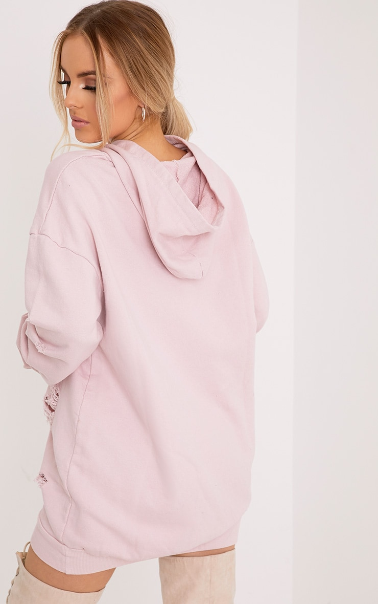 Janelle Dusky Pink Loop Back Distressed Hooded Sweater Dress 2