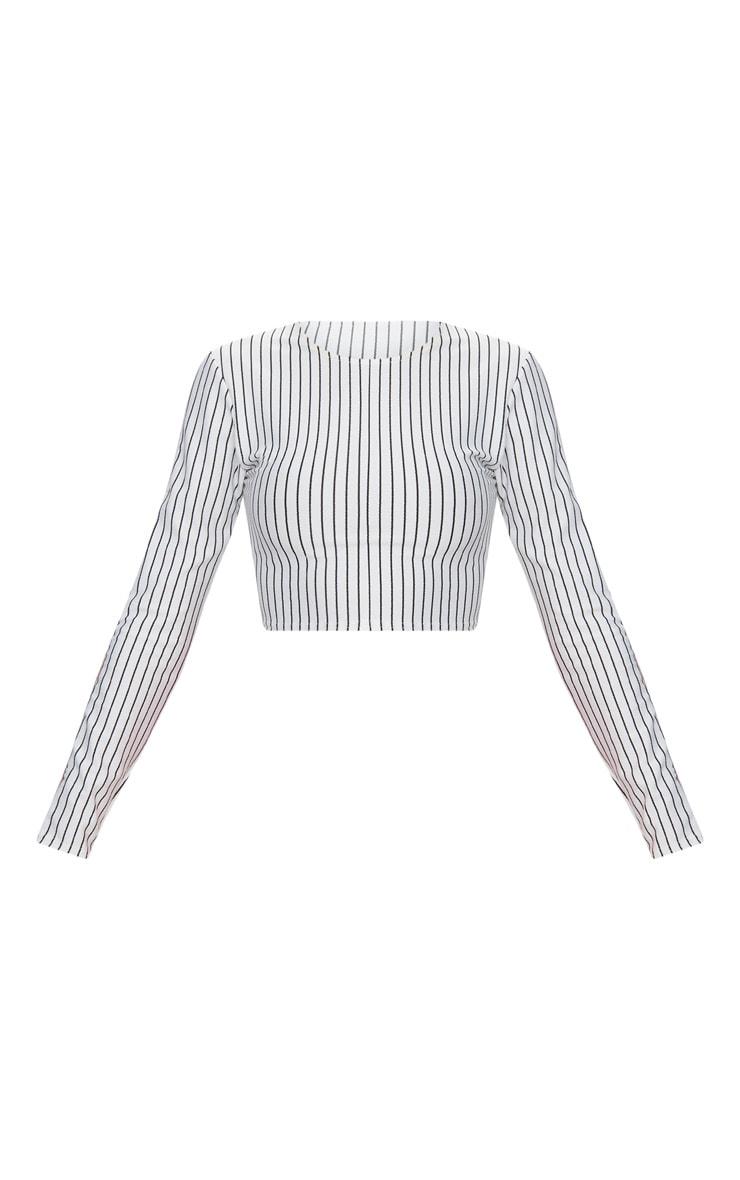 White Long Sleeve Sport Tape Stripe Crop Top  3
