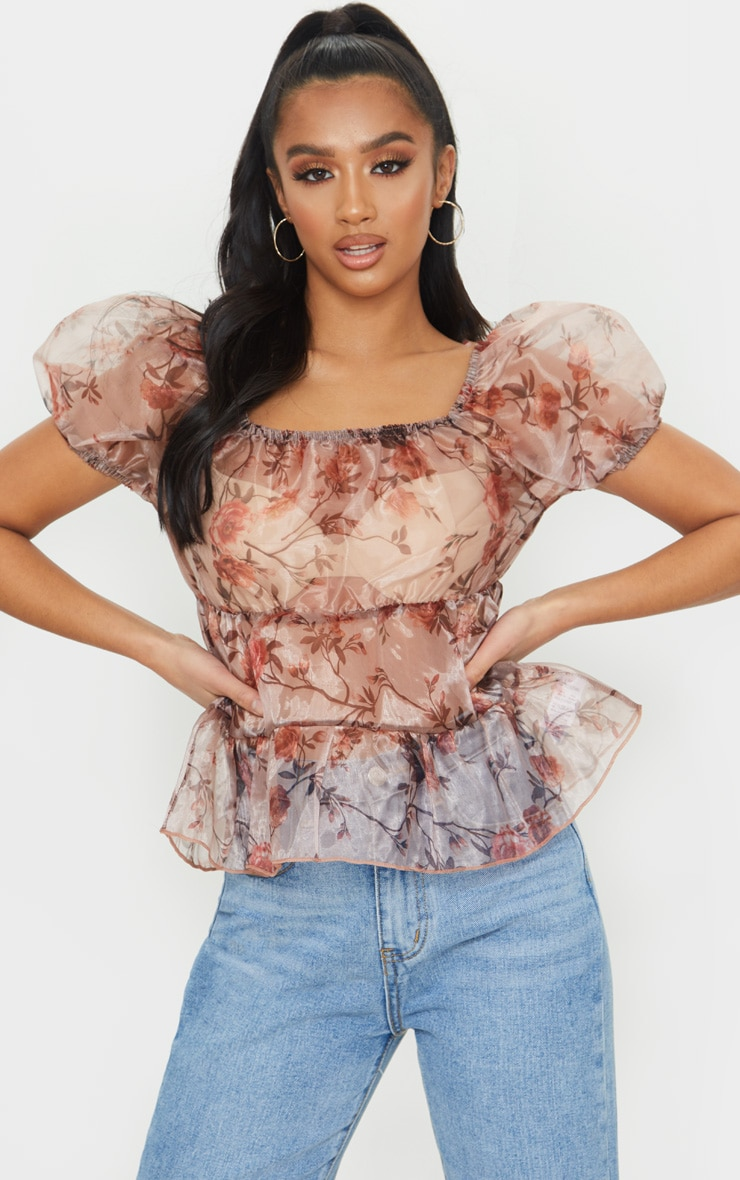 Petite Pink Floral Puff Sleeve Organza Blouse 1