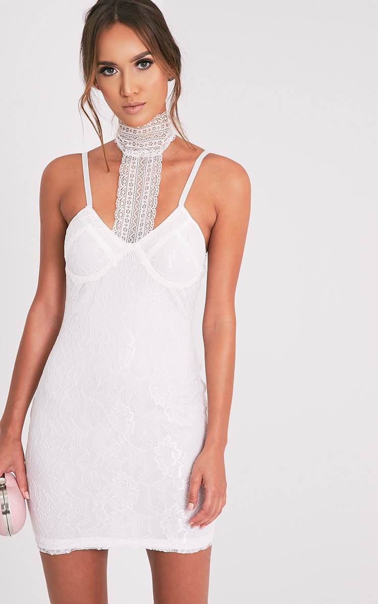 Victoria White Choker Detail Lace Bodycon Dress 1