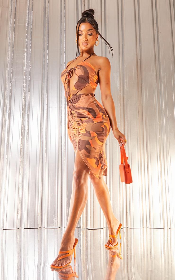 Orange Abstract Print Slinky Halterneck Cut Out Gathered Midi Dress 1