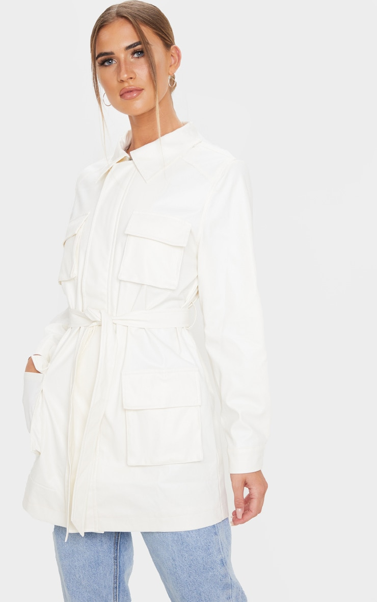 White Faux Leather Pocket Oversized Jacket 4