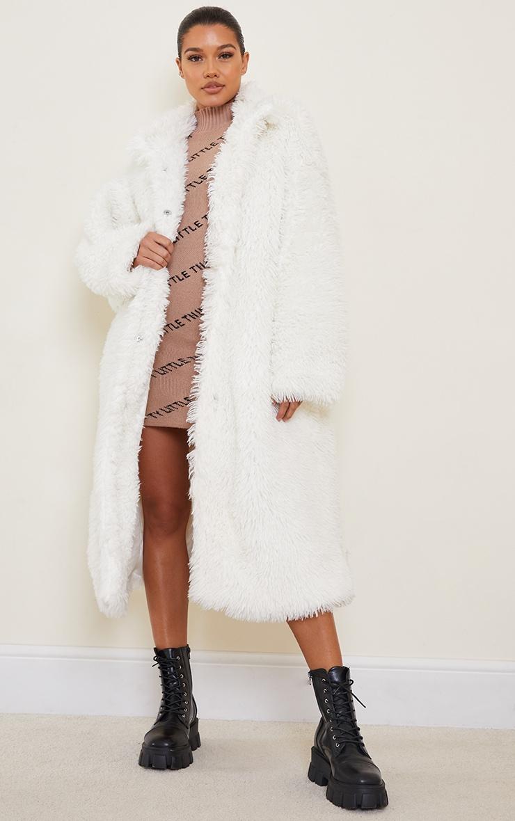 Cream Long Shaggy Faux Fur Oversized Maxi Coat 1