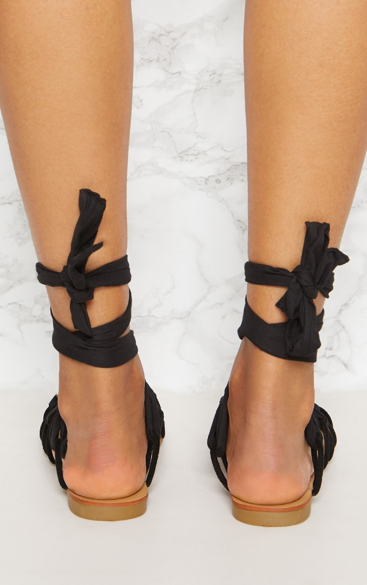 Black Ghillie Lace Up Sandal 4