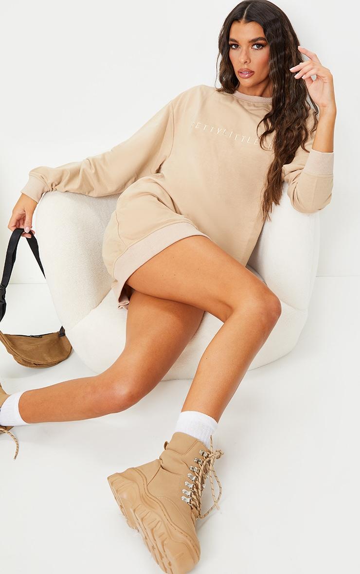 PrettyLittleThing Stone Slogan Sweat Sweater Dress 3