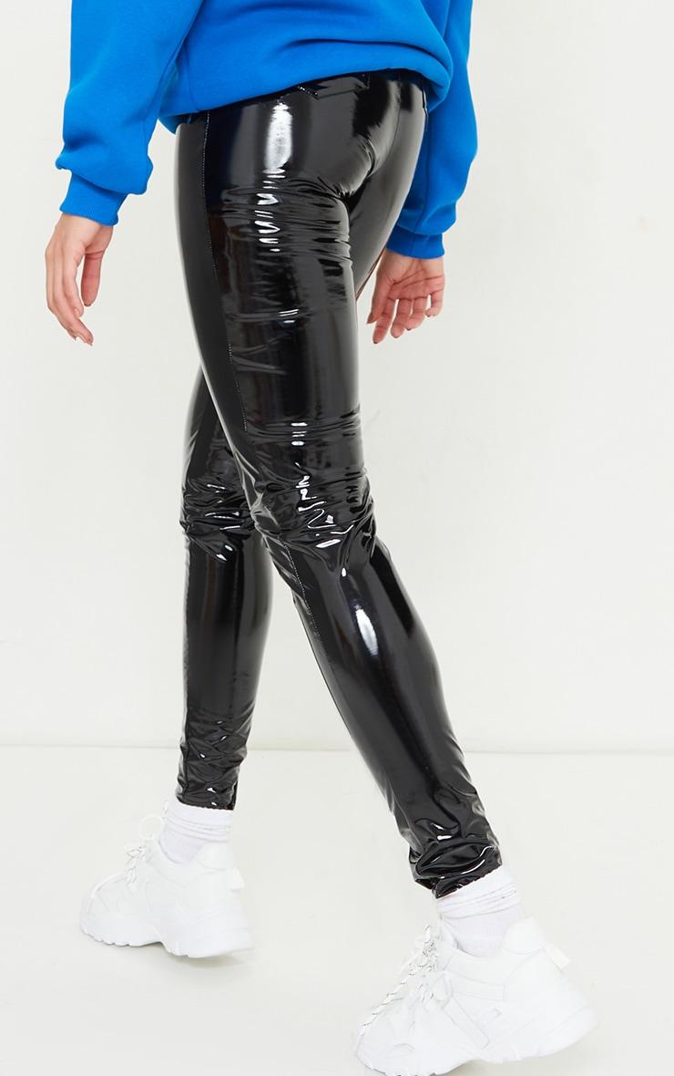 Tall Black Vinyl Pocket Detail Skinny Pants 3