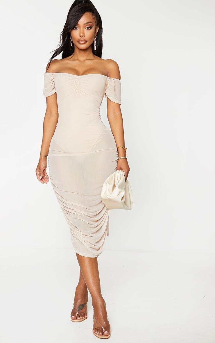 Shape Deep Nude Mesh Bardot Midi Dress 1