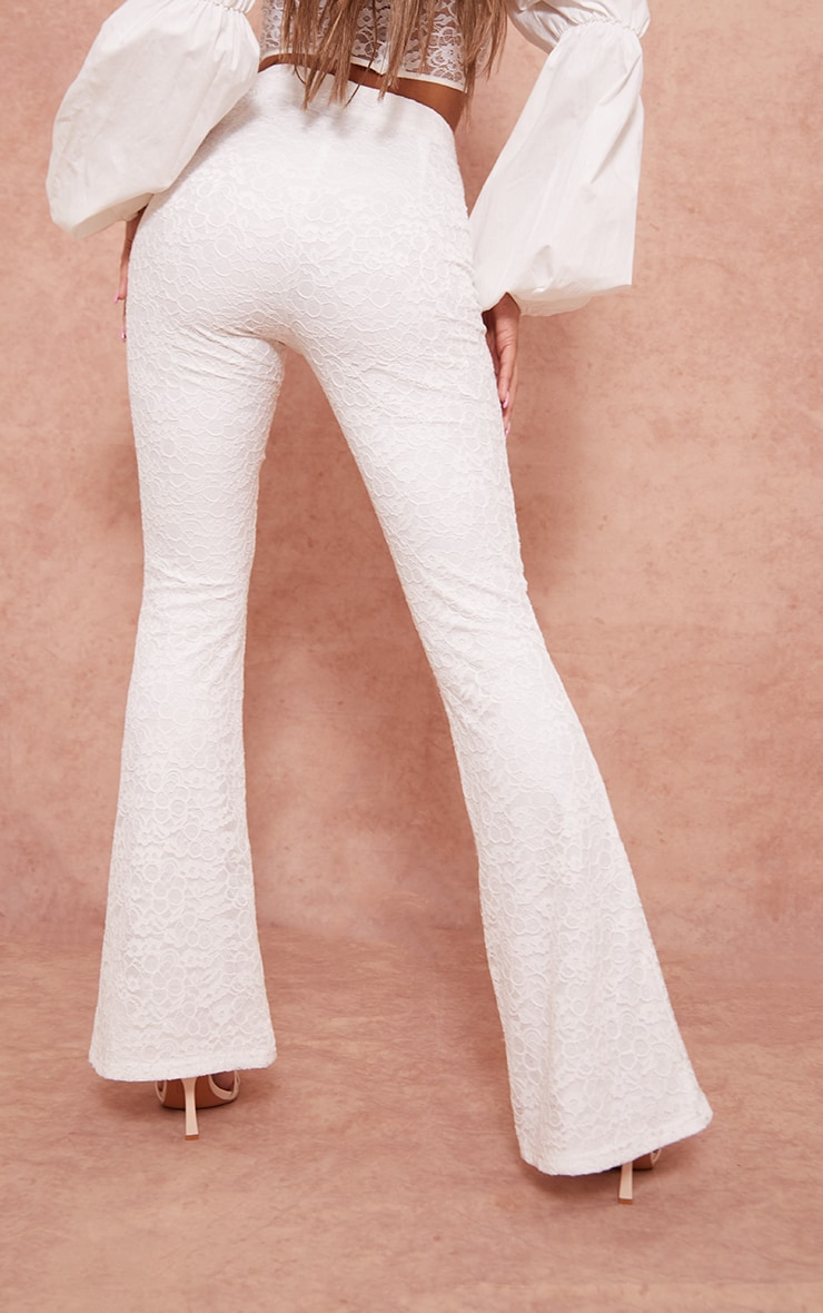 White Woven Lace High Waisted Flared Pants 3