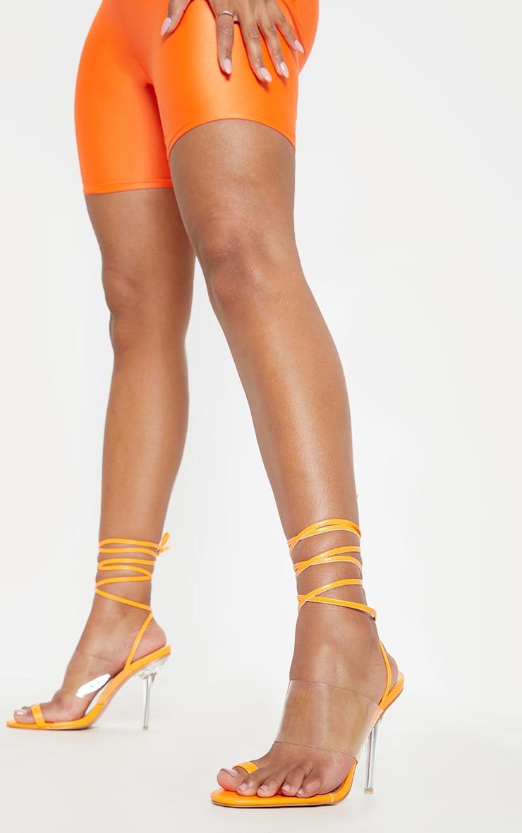 Orange Clear Heel Toe Loop Ankle Tie Sandal  1