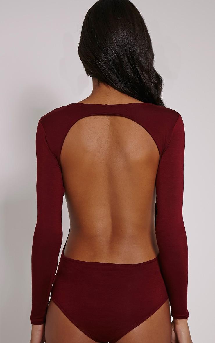 Basic Burgundy Backless Jersey Bodysuit 6
