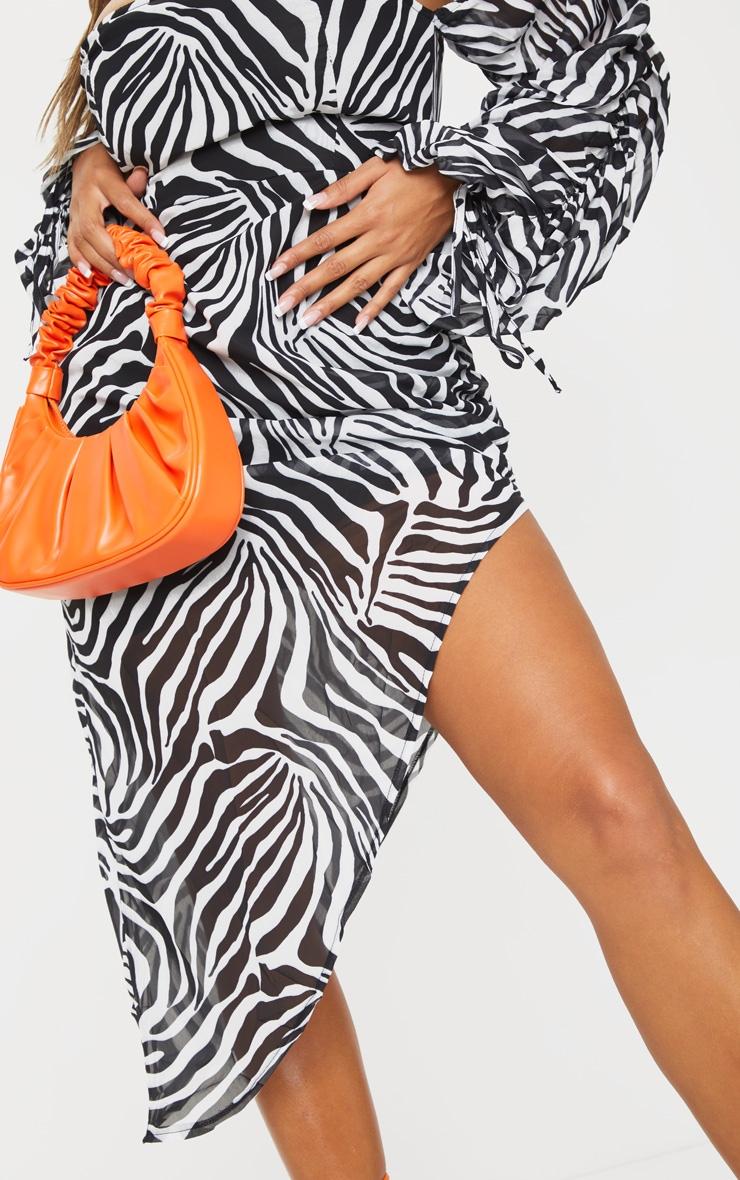 Shape White Zebra Print Bardot Ruched Sleeve Asymmetric Dress 4