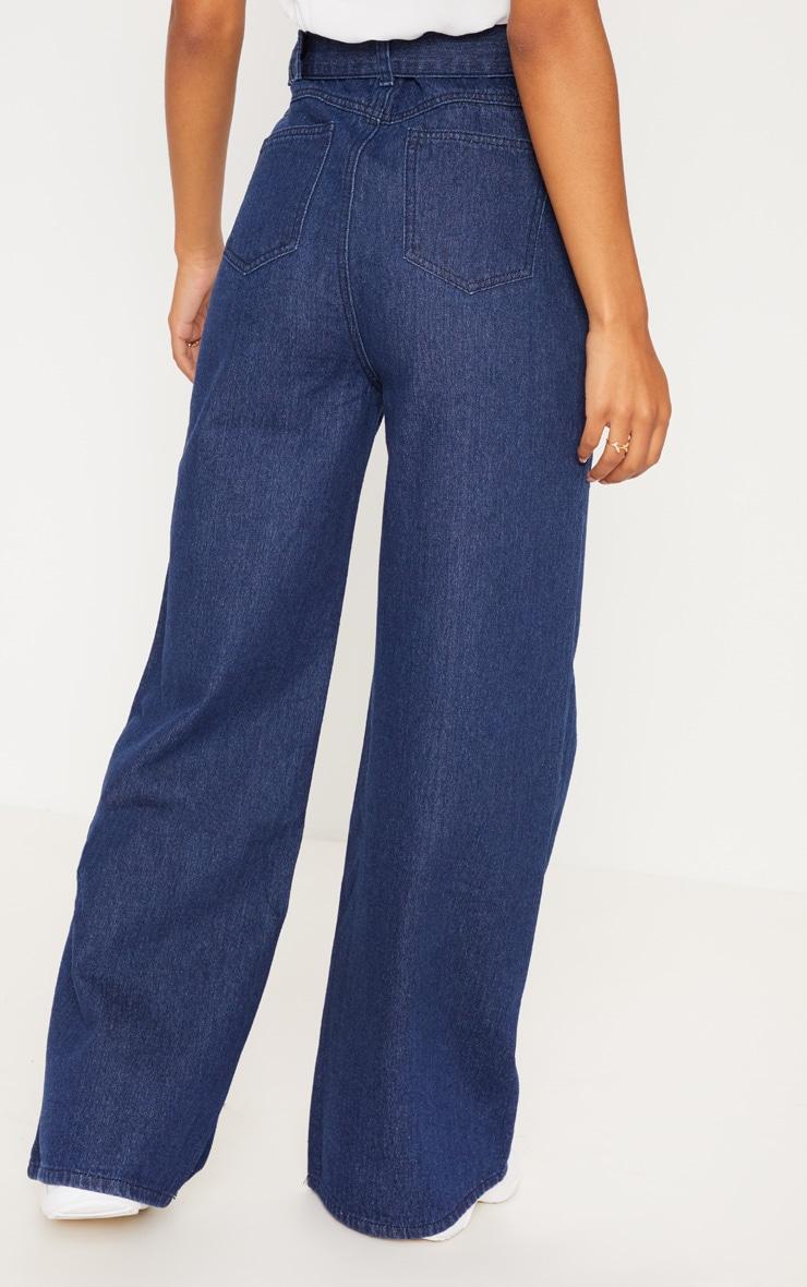 Dark Wash Belted Wide Leg Jeans  4