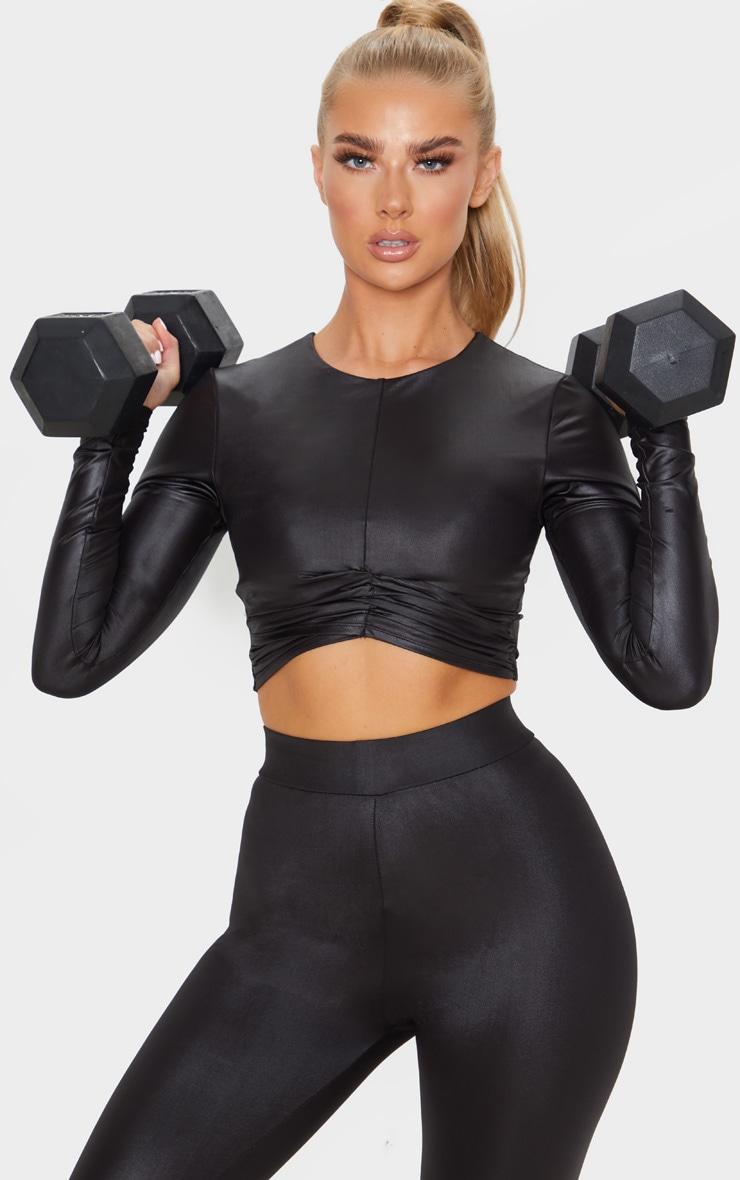 Black Shine Cross Front Long Sleeve Gym Top 1