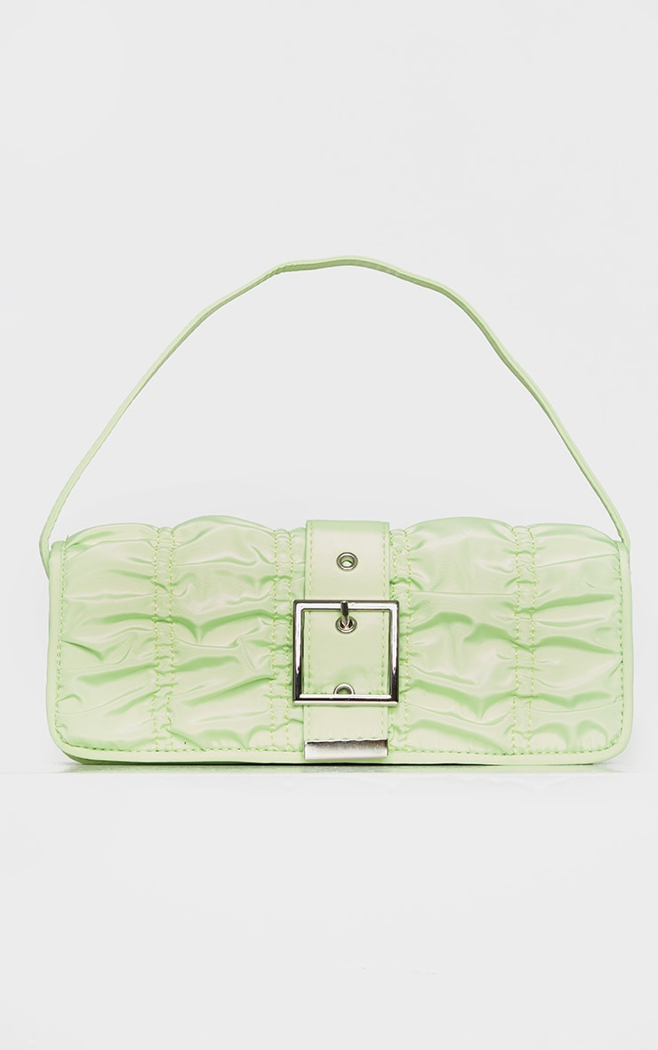 Lime Ruched Silver Buckle Shoulder Bag 2
