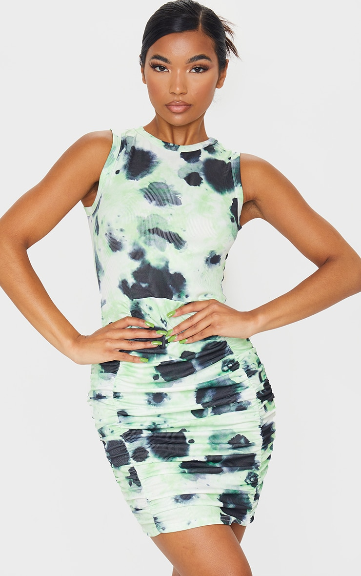 Lime Ribbed Tie Dye Sleeveless Ruched Bodycon Dress 1