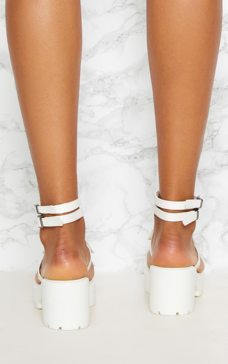 White Ring Detail Gladiator Chunky Sandal 4