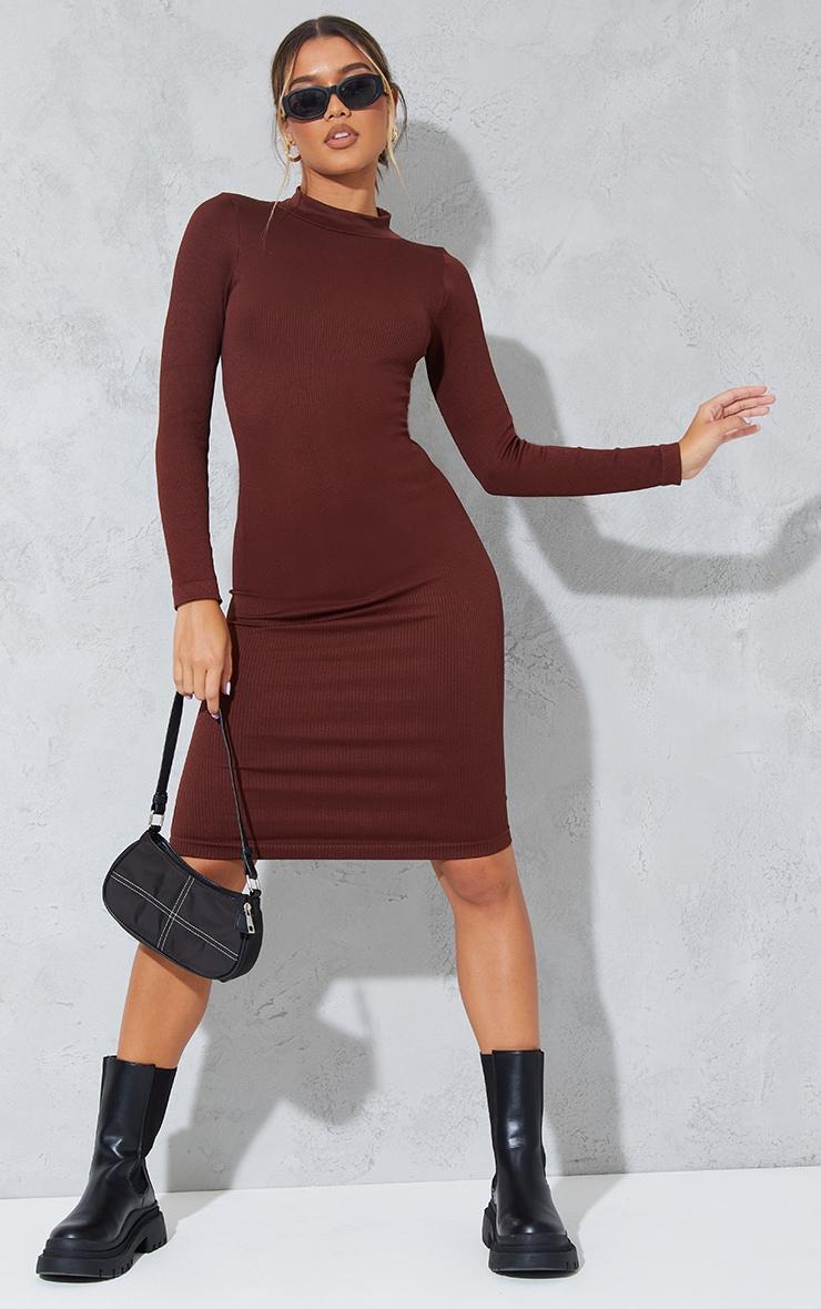 Chocolate Structured Contour High Neck Midi Dress 3