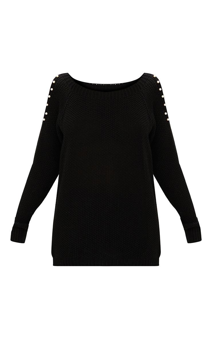Black Pearl Trim Cold Shoulder Knitted Jumper 3